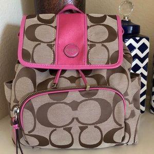 NWT💗Coach Signature Stripe Backpack